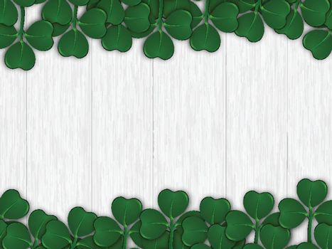 Green shamrock leaves decorated on wooden texture background for St. Patrick's Day celebration template design.