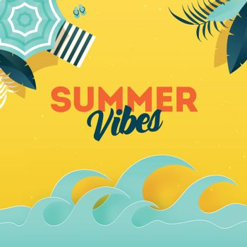 Summer Vibes background with illustration of umbrella, sunbed an