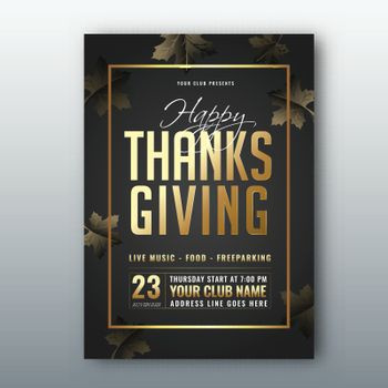 Happy Thanksgiving template or flyer design with date and venue