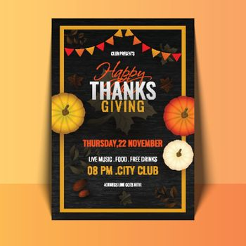 Happy Thanksgiving template design with time and venue details a