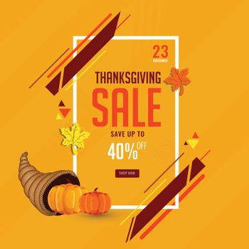 Thanksgiving sale template or flyer with 40% discount offer for
