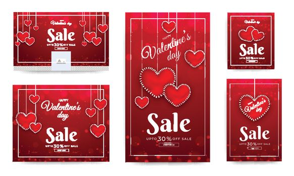 Social media header and template design with decorated with glossy heart shaped for Valentine's Day sale.