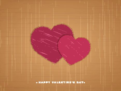 Creative poster or greeting card design with scribble style heart shapes for Valentine's Day celebration.
