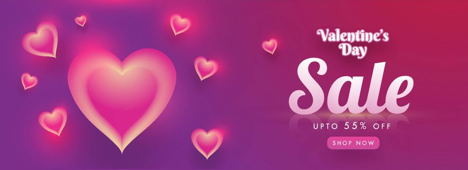 Creative glowing heart shapes decorated sale banner design with 55% discount offer for Valentine's Day.