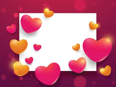 Yellow and red heart shapes decorated bokeh background with space for your message. Valentine's Day celebration greeting card design.