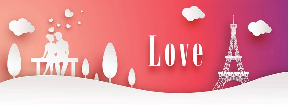Website header or banner design with paper cut style landscape, young couple fall in love on glossy background.