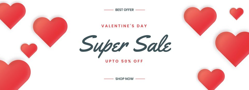 Happy valentine's day sale banner with red hearts.