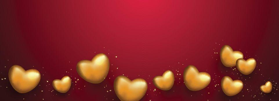 Golden heart shapes on red background. Love banner design.