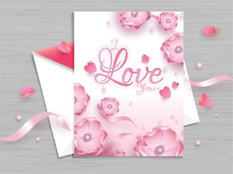 Beautiful floral decorated greeting card design for Valentine's Day celebration concept.