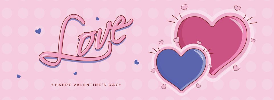 Flat style header or banner design, illustration of pink and blue heart shapes with stylish lettering of love for Valentine's Day celebration.