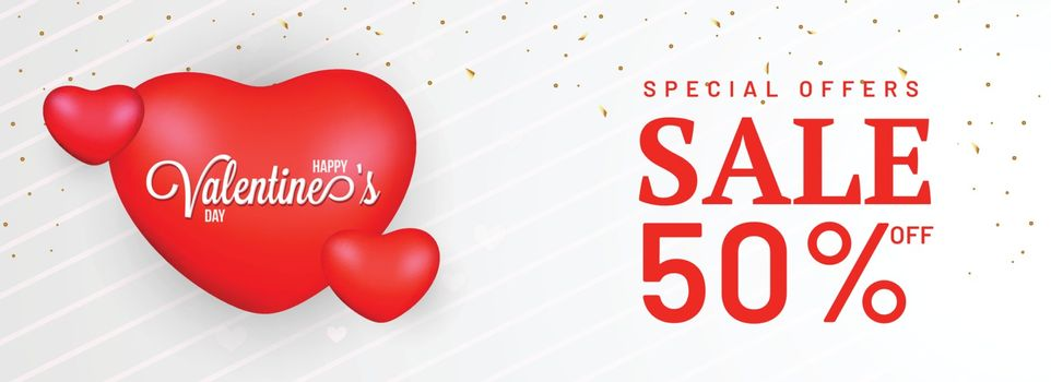 Happy valentine's sale header or banner design with 50% discount offer.