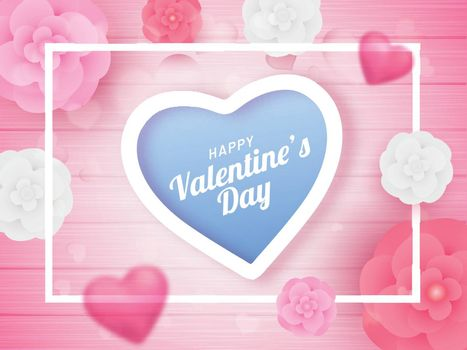 Top view of poster or banner design decorated with paper cut flowers for Valentine's Day celebration.