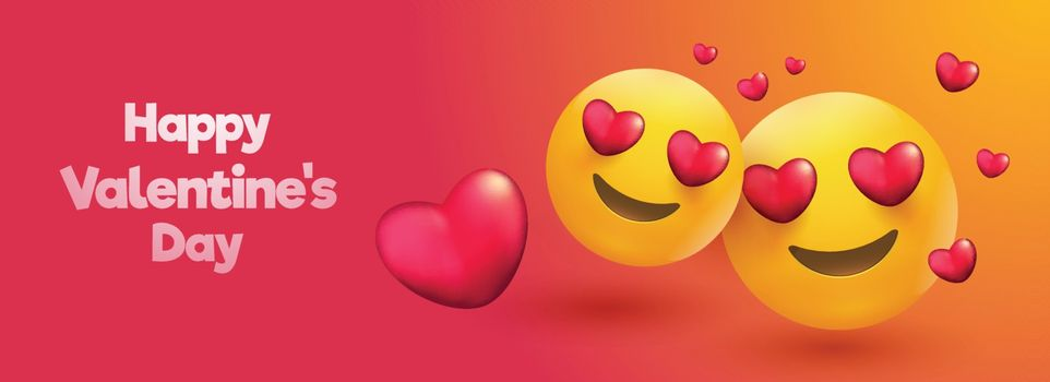 Love emoji on glossy background with heart shapes for Valentine's Day header or banner design.