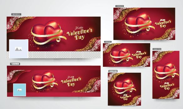 Glossy heart shapes with golden ribbon illustration on red background. Valentine's Day social media header and poster set.