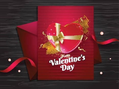 Happy Valentine's Day greeting card design on wooden texture background.