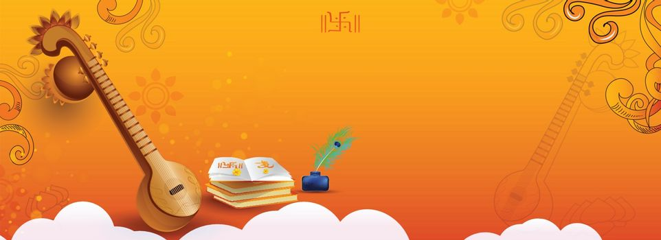 Vasant Panchami header or banner design with illustration of veena instrument and books on glossy orange background.