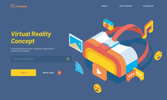 Website landing page design with isometric illustration of a VR box or glasses with media icons for Virtual reality concept.