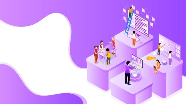 Business people working different platform in level position for Teamwork concept based isometric design. Can be used as banner or poster design.