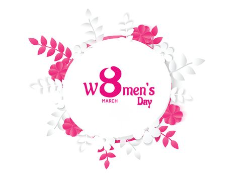 8 March Women's Day celebration banner or poster design decorated with paper cut flowers and leaves on white background.