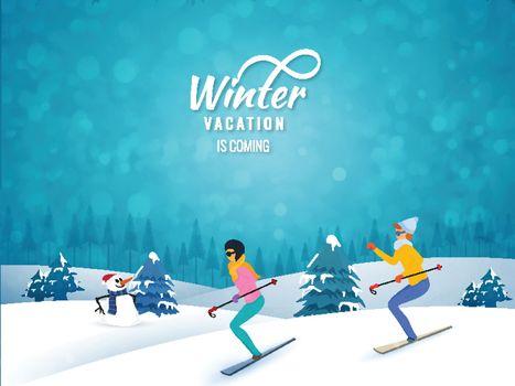 Happy Winter Holidays celebration, people, skate on snowy mountains on winter landscape background.