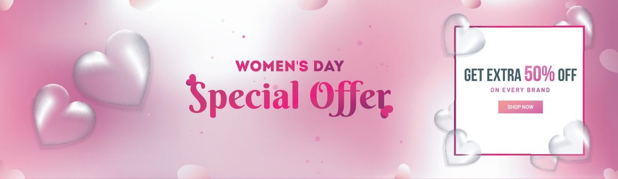 Women's Day Sale header or banner design with 50% discount offer and transparent hearts shape on glossy background.