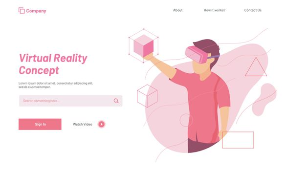 Website landing page design with character of man wearing vr glasses for Virtual Reality concept.