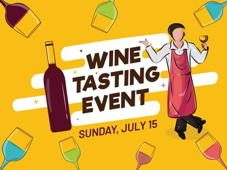 Advertising poster or banner design with illustration of bar waiter, wine bottle and drink glass decorated yellow background for Wine Tasting Event concept.