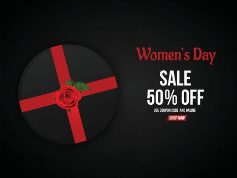 Advertising poster or template design, 50% discount offer with illustration of black gift box for Happy Women's Day celebration.