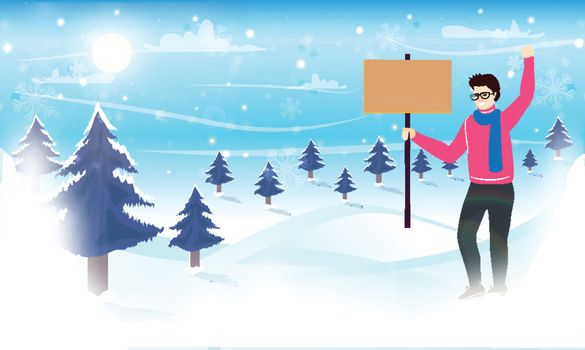 Character of man holding sign board on winter landscape background. Winter Vacation celebration concept.