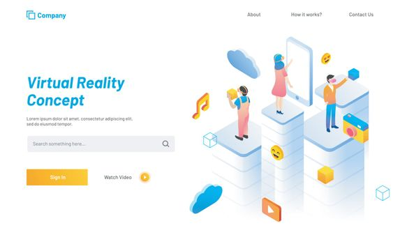 Virtual Reality concept based landing page design, people with social media icons and smartphone, interacting with virtual or imaginary world through VR glasses.