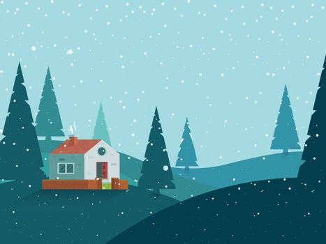 Winter landscape background with season xmas tree and house. Can be used greeting card design.