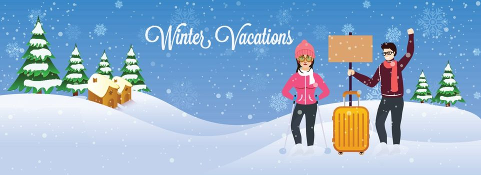 Winter Vacations header or banner design, people celebrating their vacations on snowy winter background.