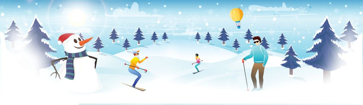 Website header or banner design, winter landscape background, People skating on snowy mountain and cute snowman illustration for Happy Winter Vacation concept.