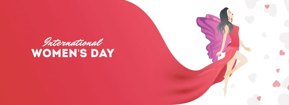 International Women's Day celebration header or banner design with illustration of young girl character on heart decorated background.