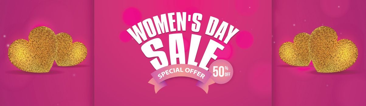 Advertising header or banner design with 50% discount offer and golden glittering hearts shapes illustration for International women's day celebration.