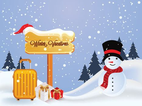Winter Vacations celebration concept, cute snowman on snowy mountain with luggage trolley on snowfall background.