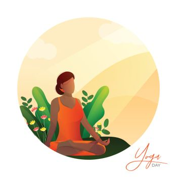 Illustration of a faceless woman doing Asana (Yoga) for International Yoga Day on abstract background for poster or banner. Space for your text.