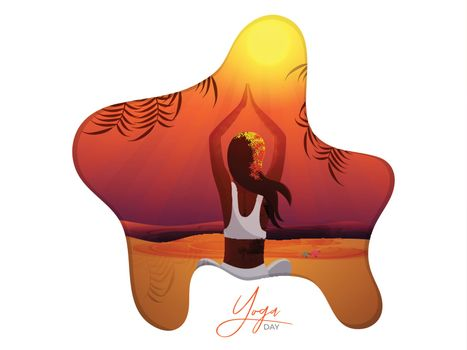 Beautiful woman doing yoga for International Yoga Day poster or banner design in paper cut style.
