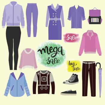 Vector Hand drawn vector collection of clothes, accessories and lettering set of special offer signs with handwritten text for sale. Clothes and accessories Fashion icon set.