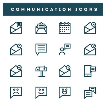 Set of communication icon in line art.