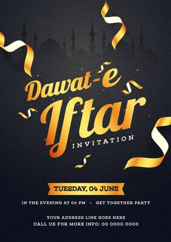 Dawat-E-Iftar Invitation card design with date, time and venue d