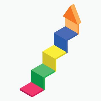 3d isometric of staircase arrow up element.