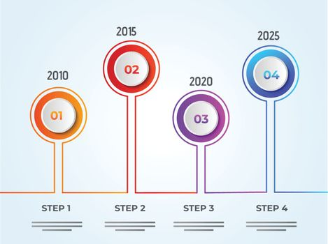 Yearly growth or success concept infographic elements with four