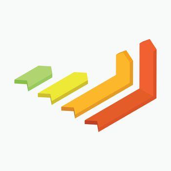 3D colorful arrow infographic graph.