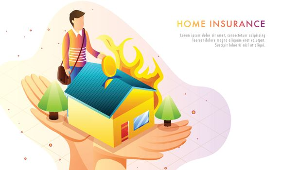 Home Insurance concept based web template design, man investing