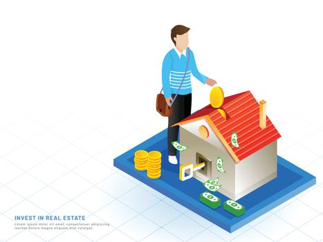 Isometric design for Invest In Real Estate, man invest his money