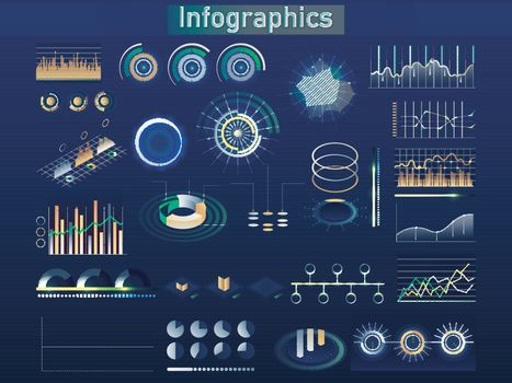 Isometric business infographic elements including statistical gr