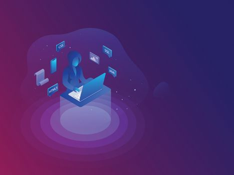 Software development or programming concept, Hacker using laptop