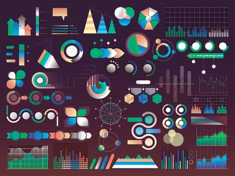 Set of various creative infographic elements including statistic