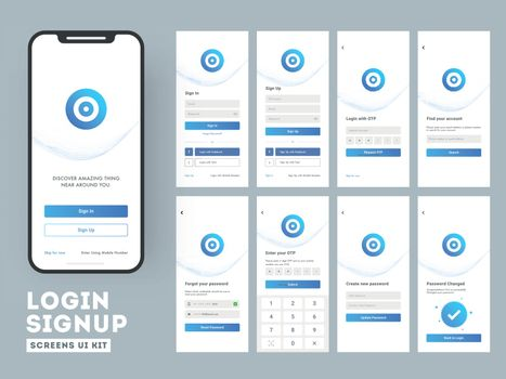 Different Login screens including  Create Account, Sign in and S
